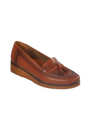 Ayakmod 127-Y Hakiki Deri Siyah Kadın Günlük Ayakkabı Taba